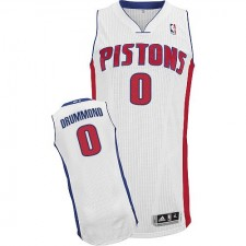 NBA Andre Drummond Authentic Men's White Jersey - Adidas Detroit Pistons &0 Home