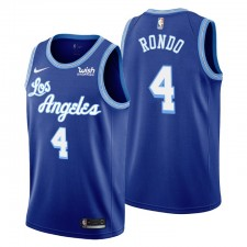 Rajon Rondo No. 4 Los Angeles Lakers Mitchell & Ness Bleu Hardwood Classics Maillot