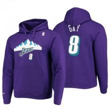 Utah Jazz no. 8 Rudy Gay Hardwood Classics Pull Sweat à capuche Purple