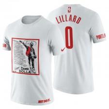 T-chemise blanc Portland Trail Blazers NBA Playoffs 50 points et 3-pointes Dame Dolla Damian Lillard.