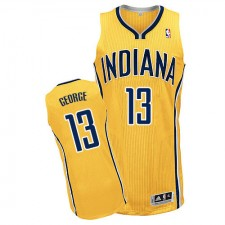NBA Paul George Authentic Men's Gold Jersey - Adidas Indiana Pacers &13 Alternate