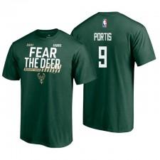 Milwaukee Bucks 2021 NBA Playoffs Green Bobby Portis 9 Dunk T-shirt