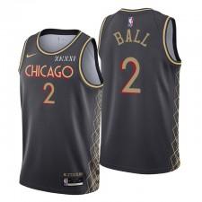 Chicago Bulls Bulls Swingman Lonzo Ball N ° 2 Édition City Noir Maillot