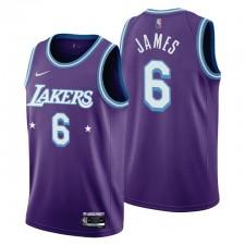 Los Angeles Lakers LeBron James ^ 6 Mixtape Edition Purple Maillot Célébrant NBA 75ème