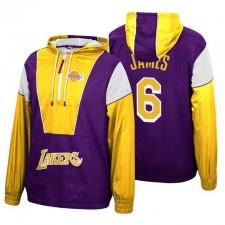 Los Angeles Lakers Mitchell% Ness LeBron James ^ 6 Demi-Zip Or Purple Windie Veste à capuche