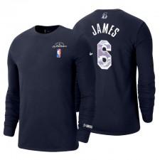 Los Angeles Lakers LeBron James ^ 6 75e anniversaire T-shirt marine à manches longues