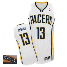 NBA Paul George Authentic Men's White Jersey - Adidas Indiana Pacers &13 Home Autographed