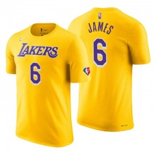 Los Angeles Lakers Lebron James ^ 6 75e anniversaire T-shirt Or Diamond Gold