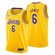 Los Angeles Lakers icon Edition Maillot No.6 LeBron James Gold 2021-22
