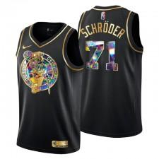 Boston Celtics Dennis Schroder ^ 71 Édition Golden Diamond Logo Noir Swingman Maillot