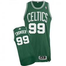 NBA Jae Crowder Authentic Men's Green Jersey - Adidas Boston Celtics &99 Road