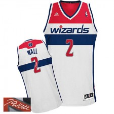 NBA John Wall Authentic Men's White Jersey - Adidas Washington Wizards &2 Home Autographed