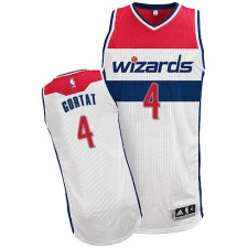 NBA Marcin Gortat Authentic Men's White Jersey - Adidas Washington Wizards &4 Home