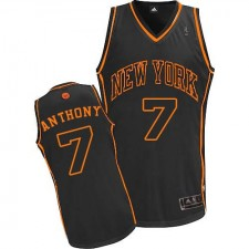 NBA Carmelo Anthony Authentic Men's Black In Black Jersey - Adidas New York Knicks &7