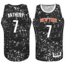 NBA Carmelo Anthony Authentic Men's Black Jersey - Adidas New York Knicks &7 City Light