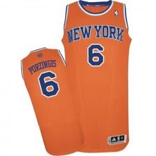 NBA Kristaps Porzingis Authentic Men's Orange Jersey - Adidas New York Knicks &6 Alternate