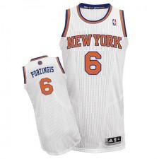 NBA Kristaps Porzingis Authentic Men's White Jersey - Adidas New York Knicks &6 Home