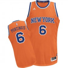 NBA Kristaps Porzingis Swingman Men's Orange Jersey - Adidas New York Knicks &6 Alternate