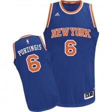 NBA Kristaps Porzingis Swingman Men's Royal Blue Jersey - Adidas New York Knicks &6 Road