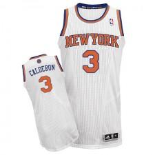 NBA Jose Calderon Authentic Men's White Jersey - Adidas New York Knicks &3 Home