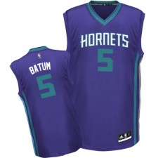 NBA Nicolas Batum Authentic Men's Purple Jersey - Adidas Charlotte Hornets &5 Alternate