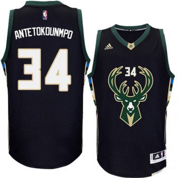NBA Giannis Antetokounmpo Authentique Hommes Noir Maillot - Adidas Magasin Milwaukee Bucks #34 Rechange