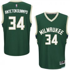 NBA Giannis Antetokounmpo Authentic Men's Green Jersey - Adidas Milwaukee Bucks &34 Road