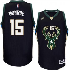NBA Greg Monroe Authentic Men's Black Jersey - Adidas Milwaukee Bucks &15 Alternate