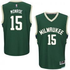 NBA Greg Monroe Authentic Men's Green Jersey - Adidas Milwaukee Bucks &15 Road