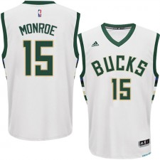 NBA Greg Monroe Authentic Men's White Jersey - Adidas Milwaukee Bucks &15 Home