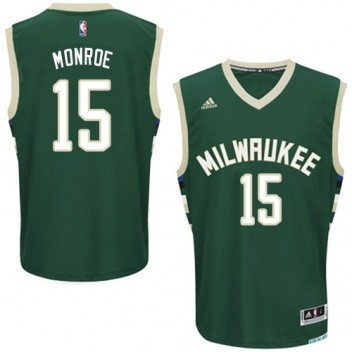 NBA Greg Monroe Swingman Hommes Vert Maillot - Adidas Magasin Milwaukee Bucks #15 Road