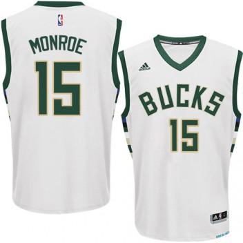 NBA Greg Monroe Swingman Hommes Blanc Maillot - Adidas Magasin Milwaukee Bucks #15 Home