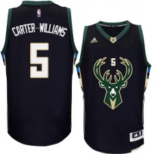 NBA Michael Carter-Williams Authentic Men's Black Jersey - Adidas Milwaukee Bucks &5 Alternate