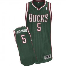 NBA Michael Carter-Williams Authentic Men's Green Jersey - Adidas Milwaukee Bucks &5 Road