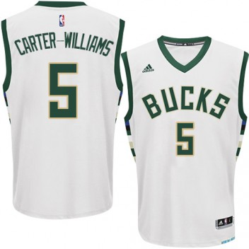 NBA Michael Carter-Williams Authentique Hommes Blanc Maillot - Adidas Magasin Milwaukee Bucks #5 Home