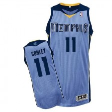 NBA Mike Conley Authentic Men's Light Blue Jersey - Adidas Memphis Grizzlies &11 Alternate