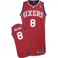 NBA Jahlil Okafor Authentic Men's Red Jersey - Adidas Philadelphia 76ers &8 Road