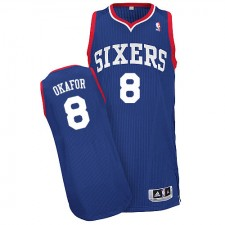 NBA Jahlil Okafor Authentic Men's Royal Blue Jersey - Adidas Philadelphia 76ers &8 Alternate