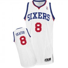 NBA Jahlil Okafor Authentic Men's White Jersey - Adidas Philadelphia 76ers &8 Home