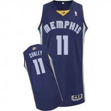 NBA Mike Conley Authentic Men's Navy Blue Jersey - Adidas Memphis Grizzlies &11 Road