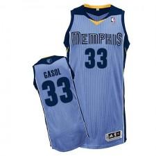 NBA Marc Gasol Authentic Men's Light Blue Jersey - Adidas Memphis Grizzlies &33 Alternate