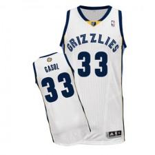 NBA Marc Gasol Authentic Men's White Jersey - Adidas Memphis Grizzlies &33 Home