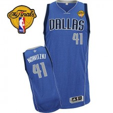 NBA Dirk Nowitzki Authentic Men's Royal Blue Jersey - Adidas Dallas Mavericks &41 Road Finals