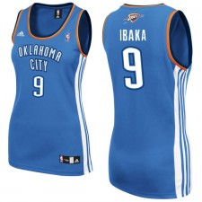 Oklahoma City Thunder &9 Serge Ibaka Women Blue Jersey