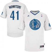 NBA Dirk Nowitzki Authentic Men's White Jersey - Adidas Dallas Mavericks &41 2013 Christmas Day