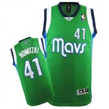 NBA Dirk Nowitzki Authentic Men's Green Jersey - Adidas Dallas Mavericks &41