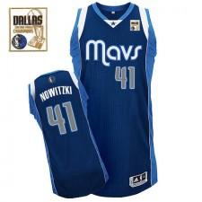 NBA Dirk Nowitzki Authentic Men's Navy Blue Jersey - Adidas Dallas Mavericks &41 Alternate Champions