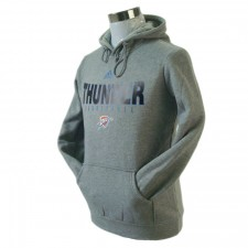 Oklahoma City Thunder Primary Logo Synthetic Grey Pullover Hoodie