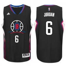 Los Angeles Clippers 2015-16 New Season Logo &6 DeAndre Jordan Black Swingman Jersey